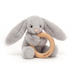 Jellycat Bashful Silver Bunny Wooden Ring Toy