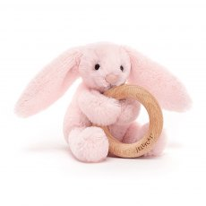 Jellycat Bashful Pink Bunny Wooden Ring Toy