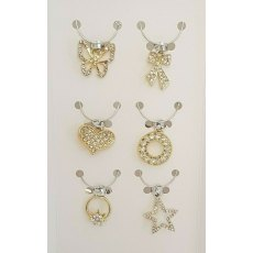S/6 Wine Charms Silver/Gold With Diamante 2 Asstd