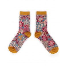 Abstract Floral Ankle Socks Mustard