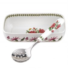 Botanic Garden Cranberry Dish With Slotted Spoon
