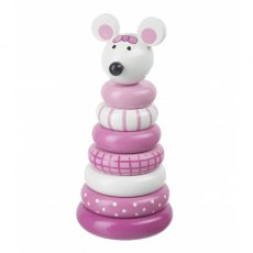 Pink Mouse Wooden Stacking Ring