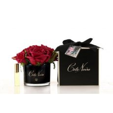 Côte Noire Real Touch Flower diffuser 5 Rose Carmine Red In Black Glass