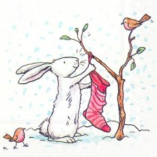 Charming Snow Rabbits Lunch Napkins