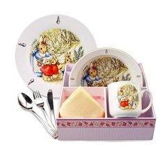 Beatrix Potters Peter Rabbit Breakfast Set Basket
