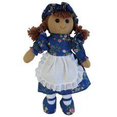 Dark Blue Floral Rag Doll With Hat & Pinny 40cm