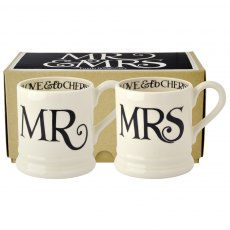 Emma Bridgewater Black Toast Mr & Mrs 1/2pt Mugs