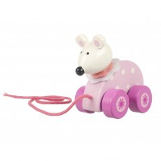 Pink Mouse Wooden Pull Along