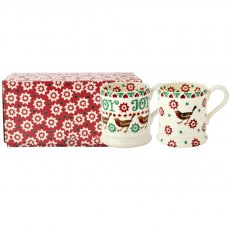 Emma Bridgewater Joy Robin set of 2 1/2pt Mug Boxe