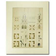 Bell Tower Print, Portmeirion: Mounted Architectural Design by Clough Williams-Ellis