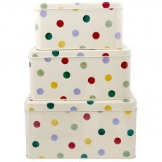 Emma Bridgewater Polka Dot Set of 3 Square Cake Tins.