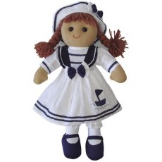 Sailor Rag Doll with White Dress & Hat