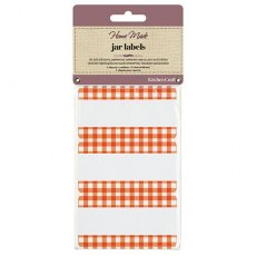 Home Made Pack of 30 Jam Jar Labels - Gingham