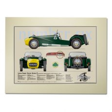 The Prisoner Lotus Super Seven Scale Drawing Mounted Print
