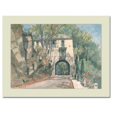 Gate House, Portmeirion: Mounted Fine Art Print by by F.W. Baldwin
