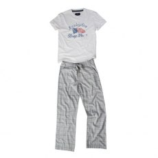 Lexington Mens Grey & White Pajama Set