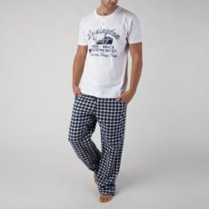 Lexington Mens White & Blue Check Holiday Pajamas