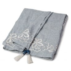Lexington Country Linen Throw with Embroidery