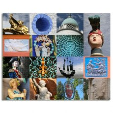 Portmeirion Village Montage Canvas Art