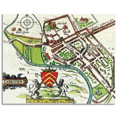 John Speed 1610 Map of Cardiff Canvas Art
