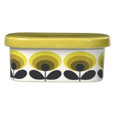 Orla Kiely 70s Oval Flower Yellow Butter Dish