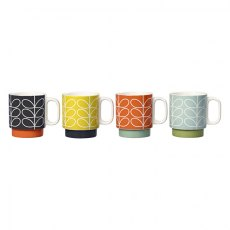 Orla Kiely Linear Stem Ceramic Stacking Mugs