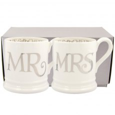 Emma Bridgewater Silver Toast Mr & Mrs set of 2 1/