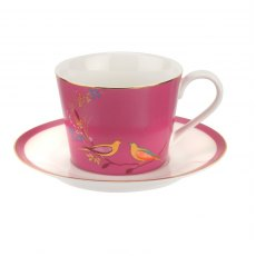 Sara Miller Chelsea Collection Pink Tea Cup & Saucer