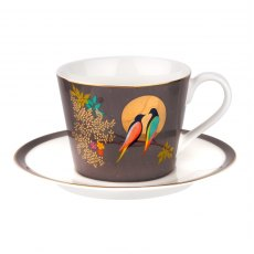 Sara Miller Chelsea Collection Dark Grey Tea Cup & Saucer