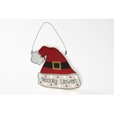 Welsh Wooden Christmas LED Santa Hat Plaque