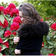 Alpaca Fur Trim Wrap - Black