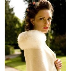 Alpaca Fur Trim Wrap - Ivory