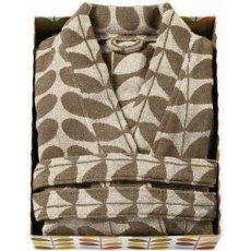 Orla Kiely Stem Jacquard Bathrobe Cream/Nutmeg - S