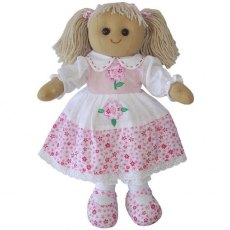 Rag Doll with Pink Floral Dress 40cm