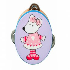 Pink Mouse Wooden Tambourine
