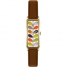 Orla Kiely Ladies Stem Print Tan Leather Strap Watch