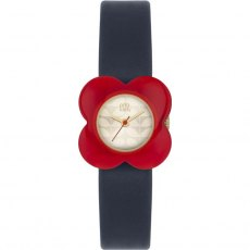 Orla Kiely Poppy Red Flower Case Watch Navy Leather Strap