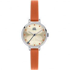 Orla Kiely Ivy Orange Leather Strap Watch