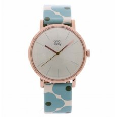 Orla Kiely Patricia Blue Flowery Leather Strap Watch