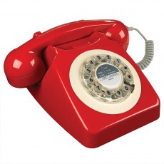 1960's 746 Desk Phone - Phone Box Red
