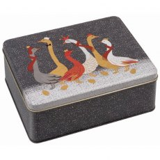 Sara Miller Christmas Geese Deep Rectangular Storage Tin
