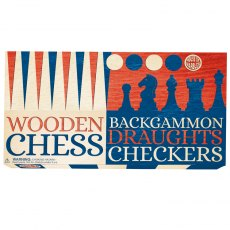 3 in 1 Chess, Draughts & Backgammon Set