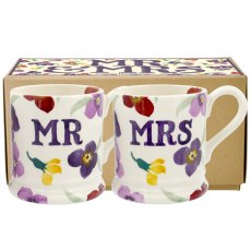 Emma Bridgewater Wallflower Mr & Mrs set of 2 1/2pt Mugs