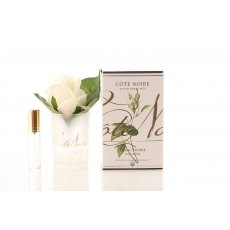 Cote Noire Perfumed Natural Touch Ivory White Rose Buds in Frost Glass
