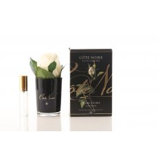 Cote Noire Perfumed Natural Touch Ivory White Rose Buds in Black Glass