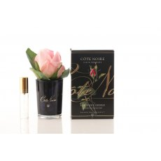 Cote Noire Perfumed Natural Touch Cherry Blossom Pink Rose Buds in Black Glass