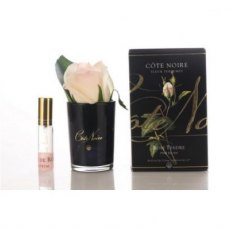 Cote Noire Perfumed Natural Touch Blush Rose Bud in Black Glass