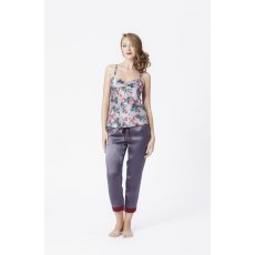 Rose Fulbright Charcoal Pyjama Trousers With Garnet Panels Small