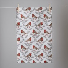 Thornback & Peel Classic Robin & Holly Tea Towel