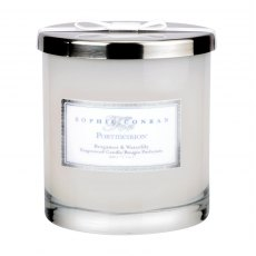 Sophie Conran for Portmeirion Bergamot & Water Lily 2 Wick Wax Filled Glass with Silver Lid